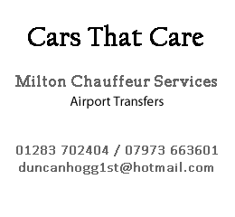 Advertisement for Cars That Care taxis - Derbyshire