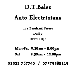 Advertisement for D.T. Bales auto services Milton Derbyshire