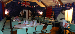 Image of Milton Village Hall set up for an evening feast